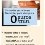 Promoción llamadas entre líneas Bankinter 0 céntimos/minuto para siempre