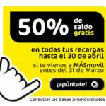 La mitad del saldo gratis en recargas con MÁSmovil