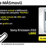 Sony Ericsson J132 gratis con MásMovil y Paypal