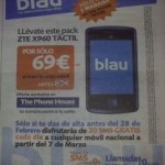 Blau: ZTE X960 por 69 euros en The Phone House