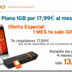 Cambios en tarifas Internet móvil Simyo, Nueva tarifa 1 GB