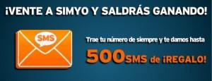 Promoción Simyo de hasta 500 SMS gratis