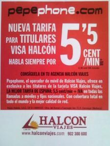 Tarifa Pepephone Halcon Viajes
