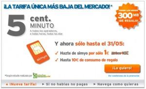 Tarifa 5 Simyo, con SIM a 1 euro