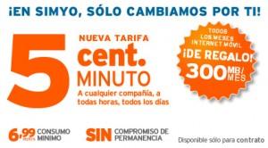 Tarifa del 5 de Simyo, con la oferta de internet móvil gratis