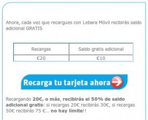 Recargas con saldo extra gratis de Lebara Móvil