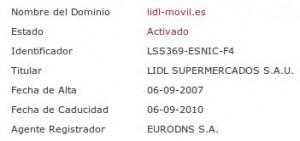 Dominio lidl-movil.es de Lidl Móvil (OMV)