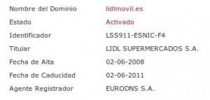 Imagen del whois del dominio lidlmovil.es