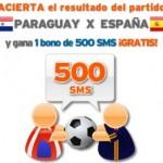Sorteo de 5 bonos de 500 SMS gratis con Simyo, si aciertas el resultado del España-Paraguay