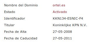Datos de registro de ortel.es