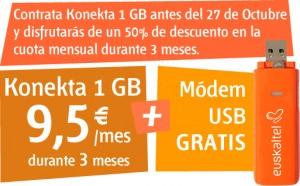Euskaltel, 1 giga de internet móvil al 50%
