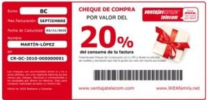 Cheque de Ikea de Ventaja Telecom
