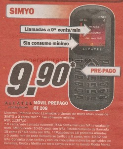 Simyo Media Markt Alcatel Movil Prepago OT 208