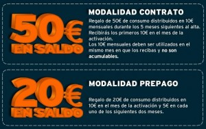 20 o 50 euros al venir de Movistar, Vodafone u Orange