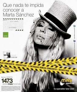 5 entradas dobles con MÁSmovil y Spotify para concierto de Marta Sánchez