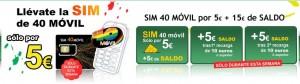 Promoción SIM OMV 40 móvil por 5 euros con 15 euros en llamadas