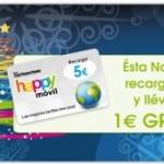 1 euro gratis de recarga por cada 5 con Happy Móvil