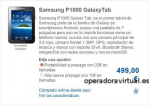 Precios antigous y caros de Samsung Galaxy Tab