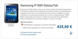 Samsung Galaxy Tab con Carrefour Móvil