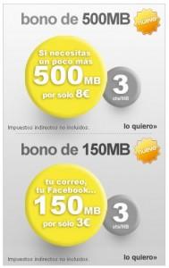 Nuevos bonos de internet móvil de 150 y 500 megas