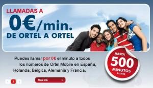 Llamadas a 0 céntimos/minuto entre Ortel Mobile