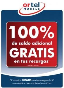100% de saldo adicional gratis con Ortel Mobile