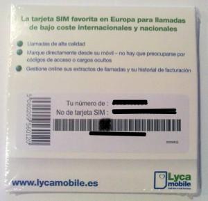 Reverso de la tarjeta SIM de Lycamobile sin pin