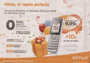 Samsung E1050 por menos de 10 euros con Simyo y The Phone House