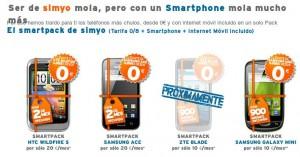 Catálogo de smartphones de Simyo subvencionados
