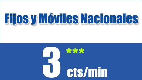 Fijos y móviles nacionales a 3 céntimos/minuto