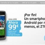 Móvil android Libre ZTE Blade por 99 euros con Tu