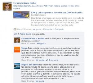Explicaciones en Facebook sobre la venta de Simyo