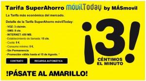 Tarifa SuperAhorro de MÁSmovil, 3 céntimos/minuto