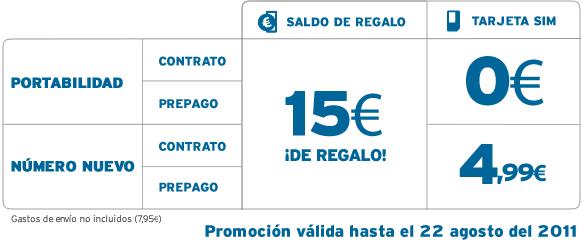 15 euros de saldo gratis con Simyo