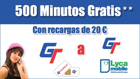 GT Mobile 500 minutos de llamadas gratis