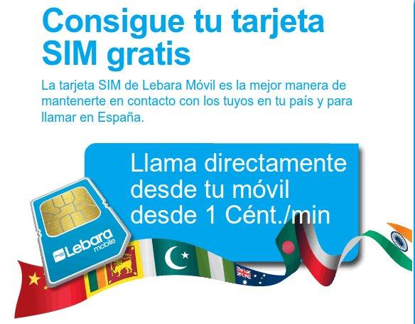 Tarjeta SIM gratis de Lebara Móvil
