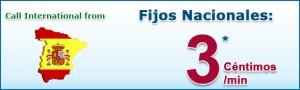 Llamadas a fijos nacionales 3 céntimos/minuto