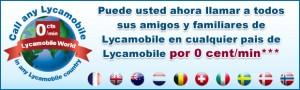 Llamadas a países Lycamobile a 0 céntimos/minuto