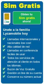 Tarjetas SIM gratuitas con Lycamobile
