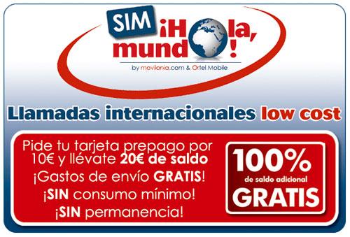 Llamadas internacionales de prepago tarjeta SIm Ortel Mobile