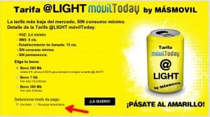 Tarifa Light de MÁSmovil en prepago automático