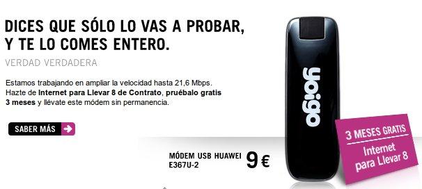 Internet móvil gratis con Yoigo y módem USB gratis o por 9 euros