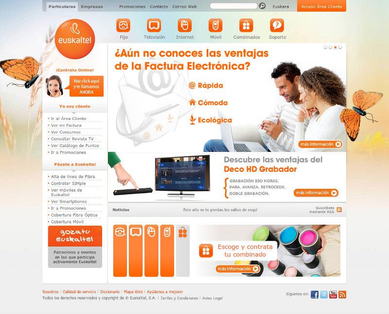 Euskaltel modifica la imagen de su web for Web oficina euskaltel