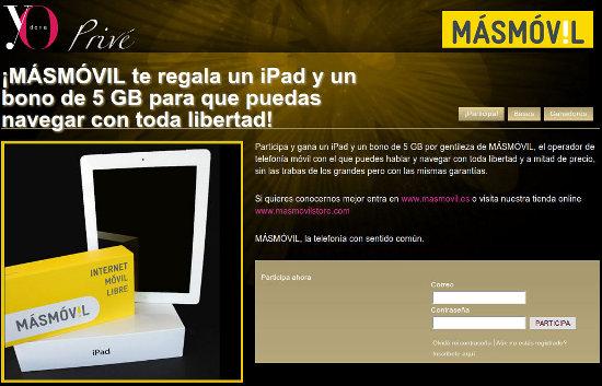 Sorteo con MÁSmovil de un iPad2 y su correspondiente tarifa de datos