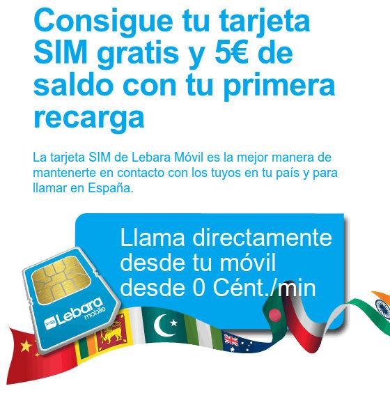 Tarjeta SIM gratis de Lebara Móvil, recargas extras gratuitas