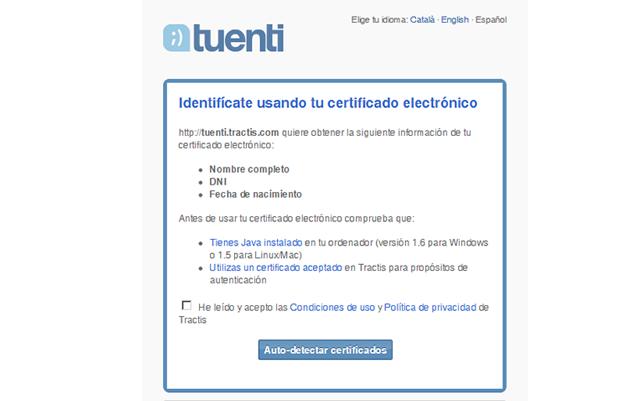 Certificado electrónico de Tu Tuenti