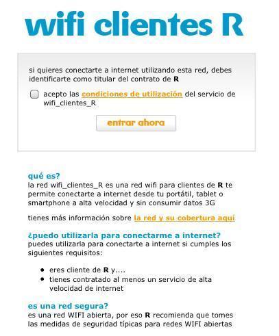 mobil R, wifi gratis para los clientes