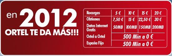 Ortel Mobile Recargas extra gratis