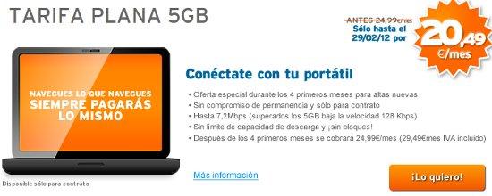 Tarifa de 5 GB promocionada por Simyo