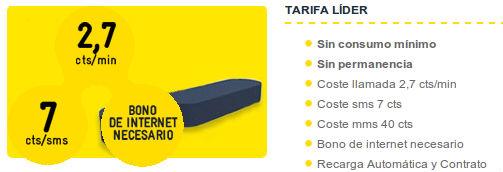 Tarifa Líder de MÁSmovil de 2.7 céntimos/minuto y 2 euros bono de datos
